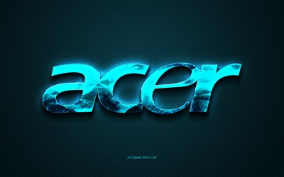 Acer logo, blue carbon background, Acer metal logo, Acer emblem, Acer art, blue background, Acer