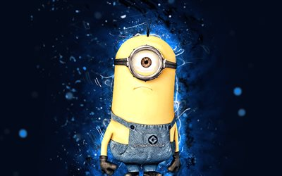Kevin, 4k, blue neon lights, Kevin the Minion, Minions The Rise of Gru, fan art, Despicable Me, Minions, Kevin Minions
