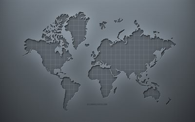 World Map, gray creative background, World Map concepts, gray paper texture, creative world map, gray background, World 3d Map