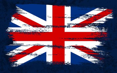 4k, Flag of United Kingdom, grunge flags, Union Jack, European countries, national symbols, brush stroke, British flag, grunge art, United Kingdom flag, Europe, United Kingdom, UK flag