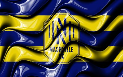 Nashville SC flag, 4k, blue and yellow 3D waves, MLS, american soccer team, football, Nashville SC logo, soccer, Nashville FC