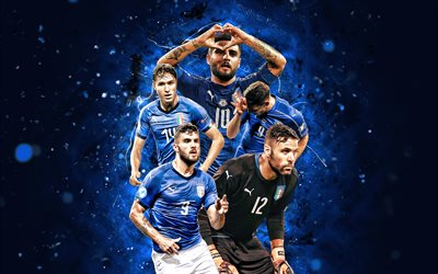 Patrick Cutrone, Salvatore Sirigu, Federico Chiesa, Lorenzo Insigne, Andrea Belotti, 4k, Italy national football team, soccer, footballers, blue neon lights, Italian football team