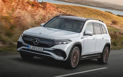 Mercedes-Benz EQB 350, 4k, route, 2021 voitures, X243, crossovers, 2021 Mercedes-Benz EQB-class, voitures allemandes, Mercedes