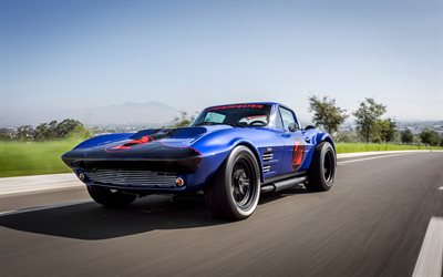 Superformance Chevrolet Corvette Grand Sport Coupe, 4k, 1963 voitures, voitures rétro, autoroute, Chevrolet Corvette 1963, Chevrolet