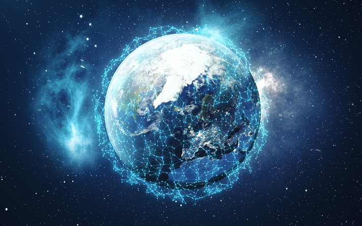 Download Wallpapers Social Network 4k Earth Globe