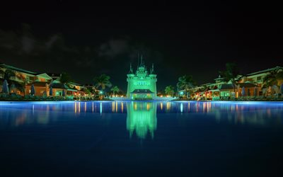 Punta Cana, Dominican Republic, resort, night, pool, castle, La Altagracia Province, summer travel