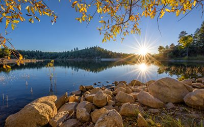 Goldwater Lake, morning, sunrise, beautiful lake, stones, beautiful landscape, Arizona, USA