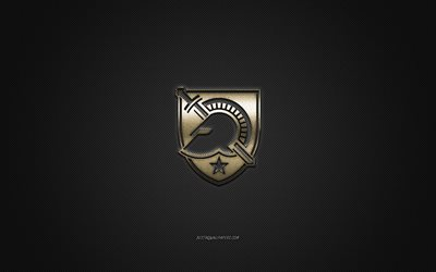Army Black Knights logo, American club de football de la NCAA, logo doré, gris en fibre de carbone de fond, football Américain, West Point, New York, états-unis, l'Armée des Chevaliers Noirs