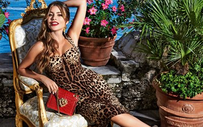 Sofia Vergara, american actress, american fashion model, photoshoot, beautiful leopard dress, Dolce Gabbana