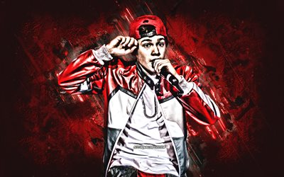 Austin Mahone, american singer, portrait, red stone background, popular singers