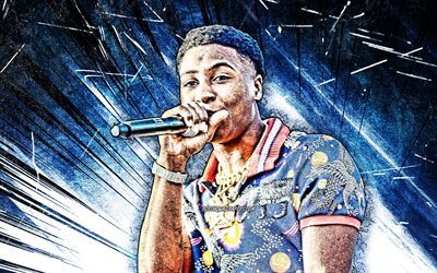 Youngboy Never Broke Again, grunge art, 4k, american rapper, blue abstract rays, music stars, creative, Kiari Kendrell Cephus, american celebrity, Youngboy Never Broke Again 4K