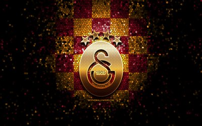 Galatasaray FC, glitter logo, Turkish Super League, purple yellow checkered background, soccer, Galatasaray SK, turkish football club, Galatasaray logo, mosaic art, football, Turkey