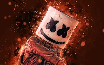 DJ Marshmello, brown neon lights, 4K, fan art, superstars, Christopher Comstock, american DJ, brown backgrounds, Marshmello, music stars, Marshmello 4K, creative, DJs