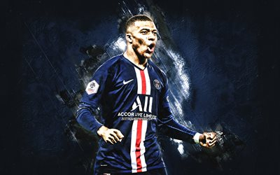 Kylian Mbappe, PSG, portrait, french soccer player, Paris Saint-Germain, blue creative art, blue stone background, football