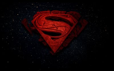 Superman, 4k, space, 3d logo, superheroes, DC Comics, Superman Logo