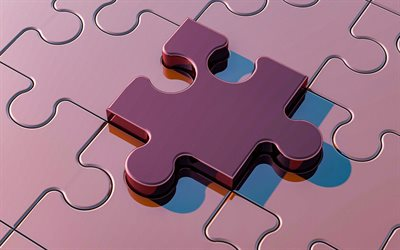 3d puzzle, metal objects, purple puzzle, game