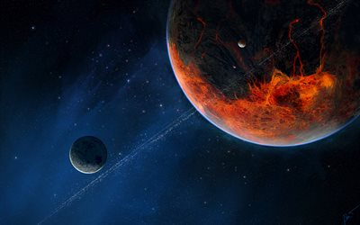 fiery planet, stars, solar system, astronomy, planets, galaxy, sci-fi