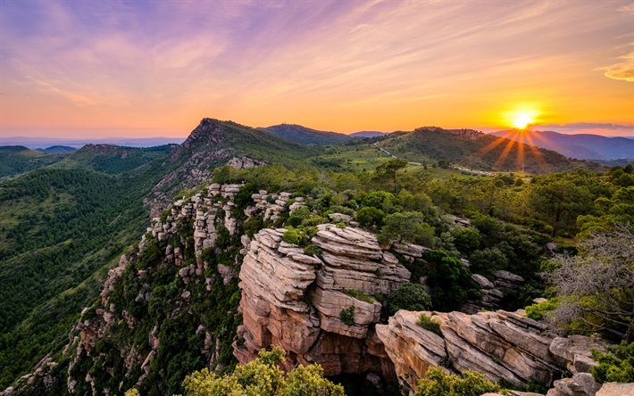 mountain landscape, sunset, evening, mountain road, mountains, Spain