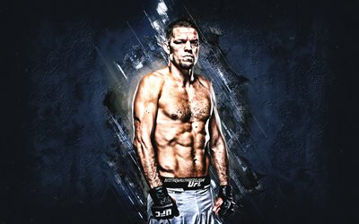 Nate Diaz, UFC, american fighter, MMA, Ultimate Fighting Championship, portrait, blue stone background, Nathan Donald Diaz