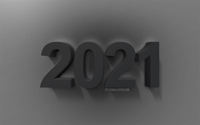 2021 New Year, black 3D letters, 2021 3D art, New Year 2021, 2021 3D background, 2021 Happy New Year