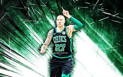 4k, Daniel Theis, grunge art, Boston Celtics, NBA, basketball, green abstract rays, USA, Daniel Theis Boston Celtics, creative, Daniel Theis 4K