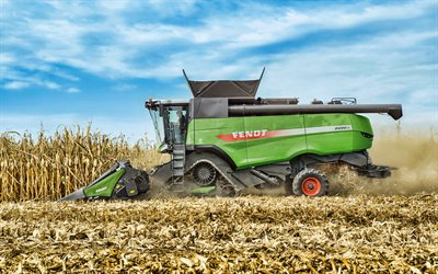Fendt 9490 X, 4k, wheat harvesting, 2018 combines, EU-spec, combine, sunset, combine-harvester, agricultural machinery, Fendt