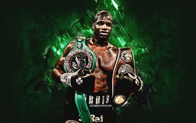 Daniel Dubois, British boxer, portrait, green creative art, Daniel Dubois with titles, Heavyweight, box, Daniel Dubois with belts