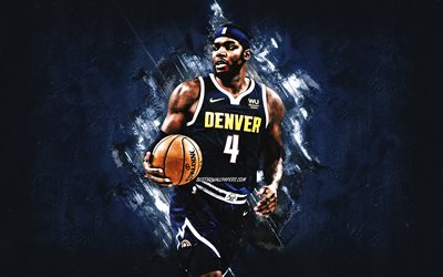 Paul Millsap, NBA, Denver Nuggets, blue stone background, American Basketball Player, portrait, USA, basketball, Denver Nuggets players