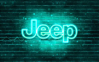Jeep turquoise logo, 4k, turquoise brickwall, Jeep logo, cars brands, Jeep neon logo, Jeep