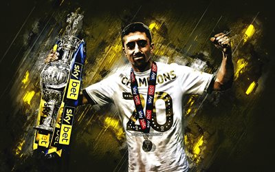 Pablo Hernandez, Leeds United FC, spanish football player, portrait, yellow stone background, England, football, EFL Championship winner