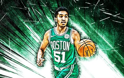 4k, Tremont Waters, grunge art, Boston Celtics, NBA, basketball, green abstract rays, USA, Tremont Waters Boston Celtics, creative, Tremont Waters 4K