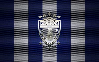 CF Pachuca logo, Mexican football club, metal emblem, blue and white metal mesh background, CF Pachuca, Liga MX, Pachuca, Hidalgo, Mexico, football
