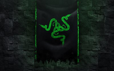 4k, Razer logo, grunge art, black brickwall, creative, black background, Razer