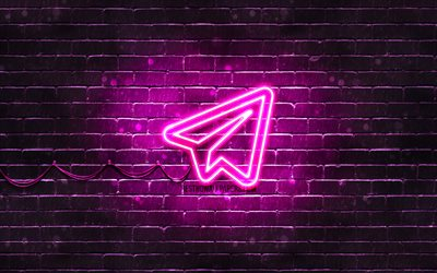 Telegram purple logo, 4k, purple brickwall, Telegram logo, social networks, Telegram neon logo, Telegram