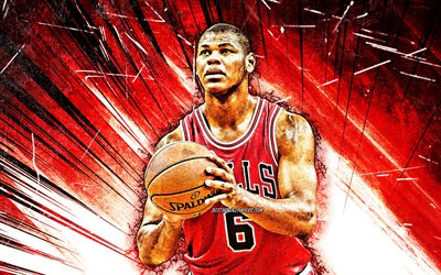 4k, Cristiano Felicio, grunge art, Chicago Bulls, NBA, basketball, Cristiano Silva Felicio, USA, Cristiano Felicio Chicago Bulls, red abstract rays, creative, Cristiano Felicio 4K