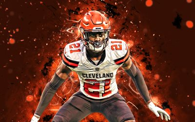 Denzel Ward, 4k, NFL, Cleveland Browns, american football, cornerback, Denzel N Ward, National Football League, Denzel Ward 4K, neon lights, Denzel Ward Cleveland Browns