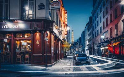 Paris, streets, Eiffel tower, evening, streets of Paris, capital of France, Paris cityscape, France