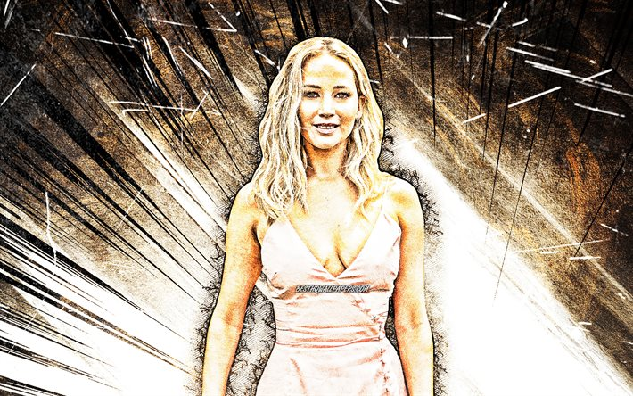 4k, jennifer lawrence, grunge, kunst, hollywood, american star, stars, jennifer shrader lawrence, braun abstrakt-strahlen, schönheit, fan-kunst, us-amerikanische schauspielerin, superstars, jennifer lawrence 4k