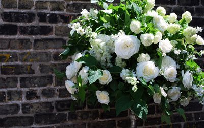 wedding, white roses, wedding decoration, roses, rose bouquet