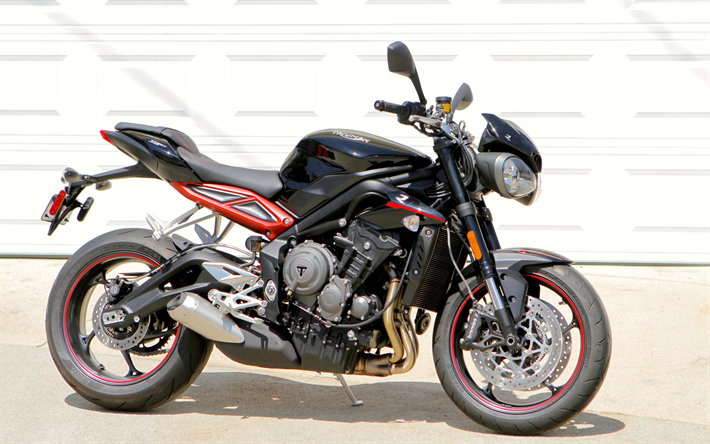 download wallpapers triumph street triple 765 r 2018 bikes superbikes triumph for desktop. Black Bedroom Furniture Sets. Home Design Ideas