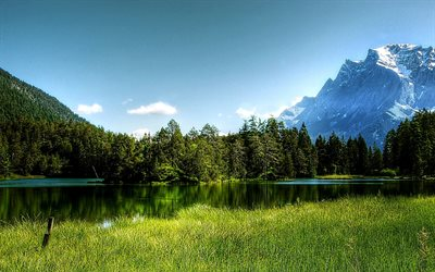 Europe, Alps, mountains, alpine clouds, HDR, summer, lake