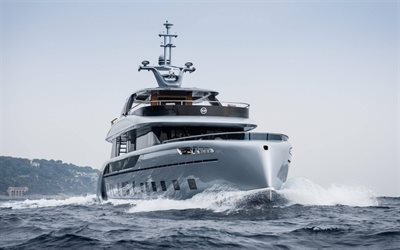 luxury yacht, modern ships, sea, waves, silvery yacht