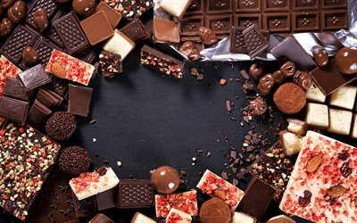 chocolate candy, chocolate frame, sweets, chocolate, different candies