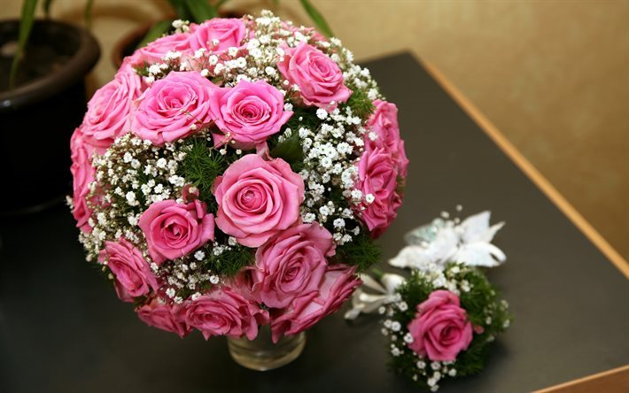 roses, wedding bouquet, pink roses, rose bouquet, pink flowers