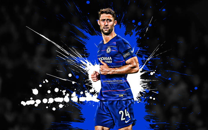 Download Wallpapers Gary Cahill, Blue And White Blots