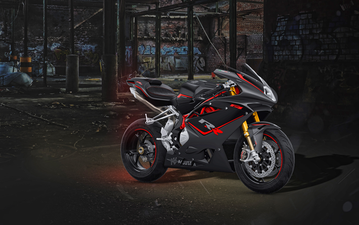 Download Wallpapers MV Agusta F4, 4k, Abandoned Building
