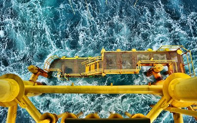 oil derrick, sea, waves, storm, drilling station, aerial survey, roofing, oil rig