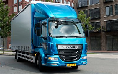 DAF LF, 2017, new trucks, 4k, blue LF, cargo transportation