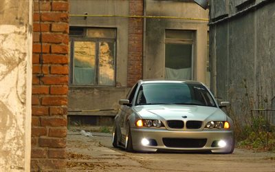 BMW M3, tuning, E46, stance, BMW 3-series, low rider, silver m3, BMW
