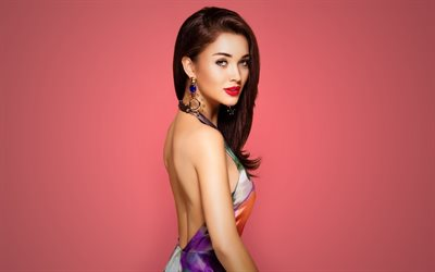 Amy Jackson, English top model, make-up, dress with flowers, English actress, portrait